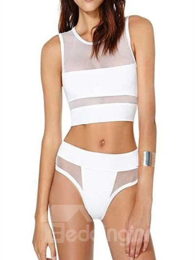 Cozy 2 Pieces Pure White Body-Con Bikini