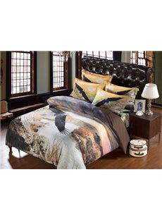 Eagle Flying across Waterfall Print 6-Piece Duvet Cover Sets