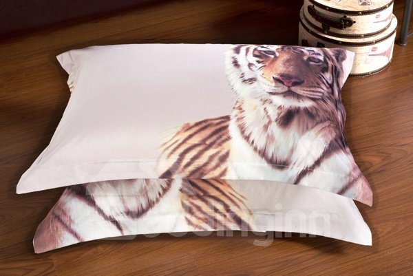 Handsome Tiger Print 6-Piece Cotton Duvet Cover Sets
