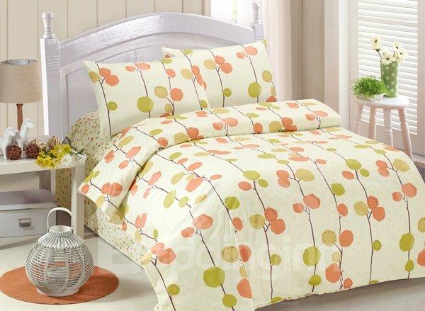 Leaves Print 4-Piece Cotton Kids Duvet Cover Sets