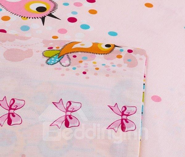 Unique Blue and Yellow Lark Birds Print 4-Piece Kids Duvet Cover Sets
