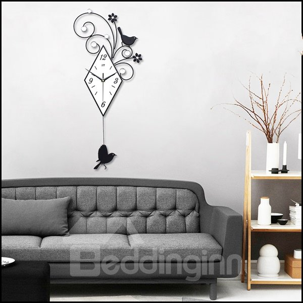 Creative Iron Swing Birdie Mute Wall Clock Home Decoration