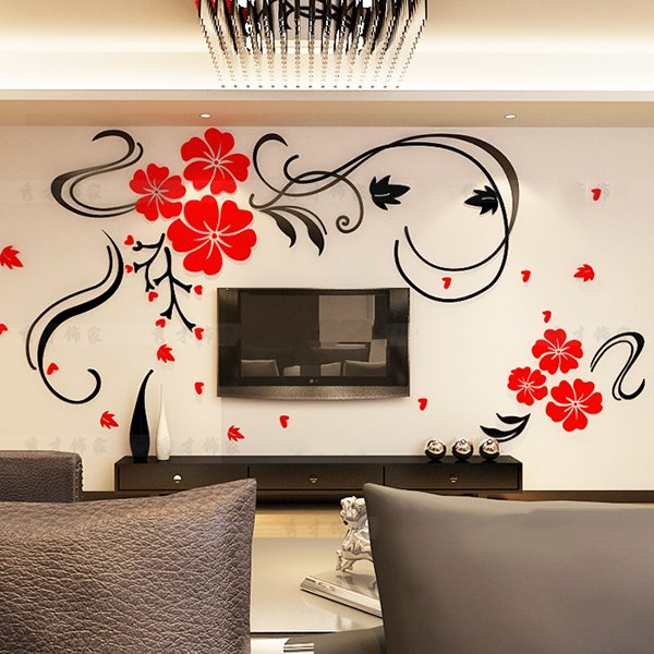 Gorgeous Floral and Butterfly Pattern Living Room 3D Wall Sticker ...