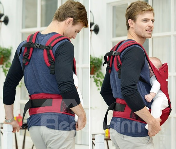 Durable Adjustable Lively Red Cotton Baby Carrier for Infant and Toddler
