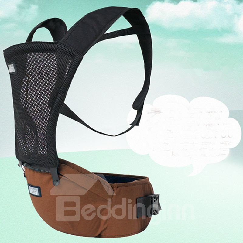Comfortable Breathing Brown Cotton Baby Carrier