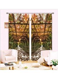 Sunlight Through the Vine Two Piece 3D Curtain