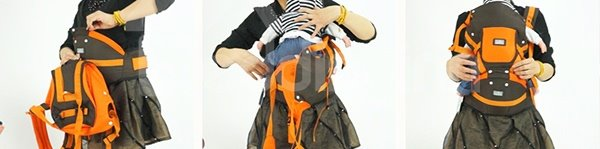 Comfortable Multi-Functional Cotton Baby Carrier in Lovely Orange