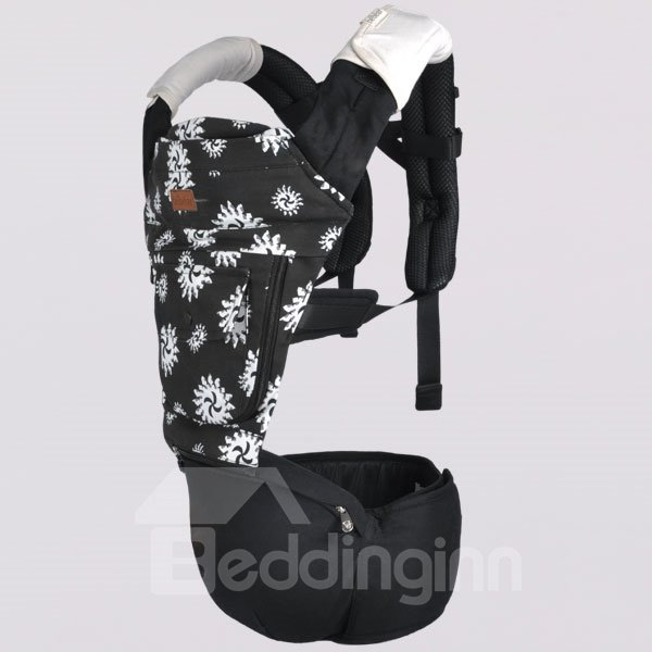 Multi Position Back and White Flower Print Cotton Baby Carrier