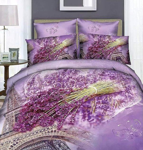 Fragrant Lavender and Eiffel Tower Print 4-Piece Cotton Duvet Cover Sets