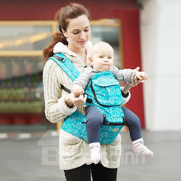 Comfortable Blue Cottton Four-Position Detachable Baby Carrier