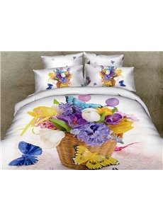 Flower Basket and Butterflies Print 4-Piece Cotton Duvet Cover Sets