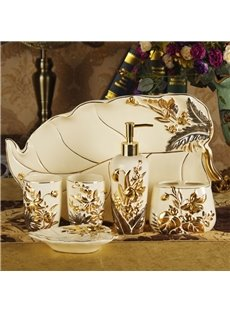 Luxury Gold Trim 6-piece Ceramic Bathroom Accessories