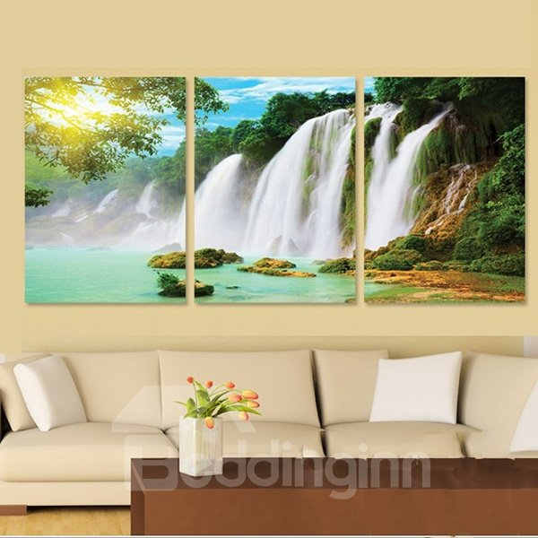 16×24in×3 Panels Green Forest and Waterfall Pattern Hanging Canvas ...