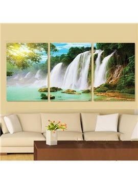 16×24in×3 Panels Green Forest and Waterfall Pattern Hanging Canvas Waterproof Eco-friendly Framed Prints