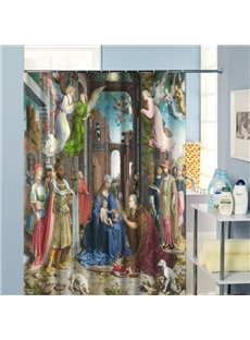 The Nativity of Jesus Paintings Dacron Fabric Shower Curtain