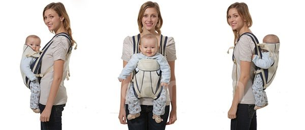 Simple Style Light Blue Color Front and Back Baby Carrier