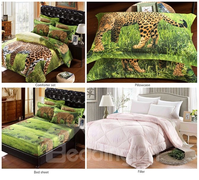 3D Leopard in Wild Printed Polyester 5-Piece Comforter Sets