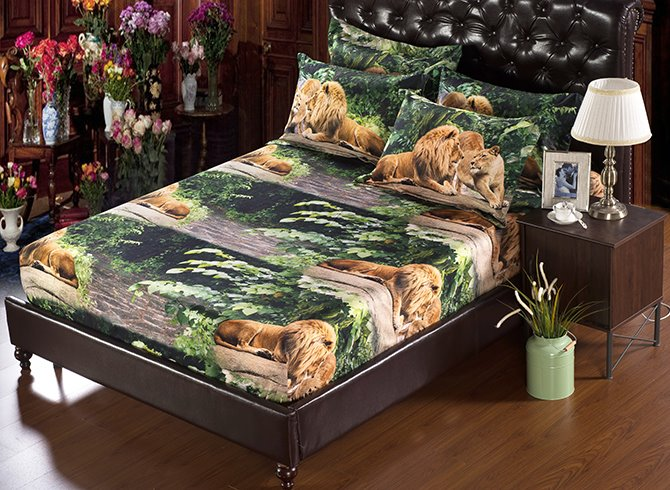 3D Lion Couple Printed Polyester 5-Piece Comforter Sets