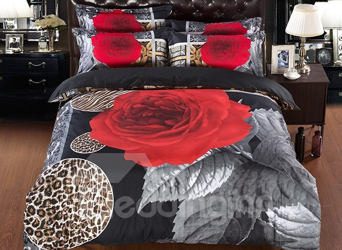Romantic Rose Wild Leopard Design 5-Piece Comforter Sets