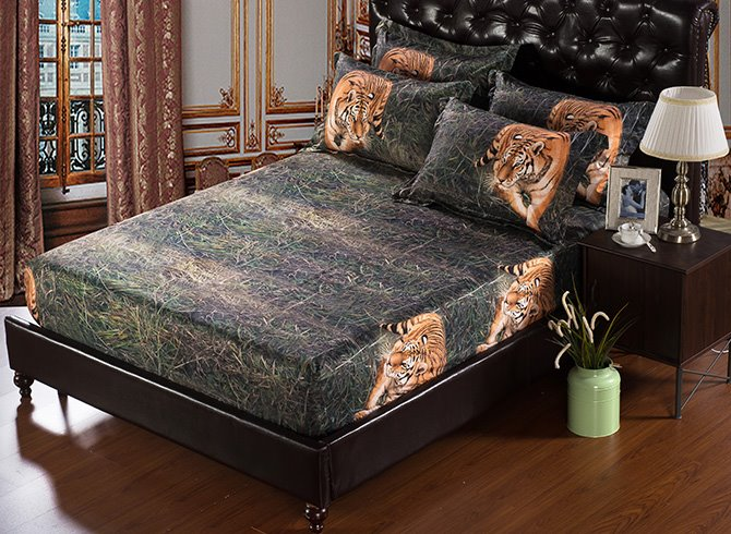Stylish Vivid 3D Tiger 5-Piece Comforter Sets