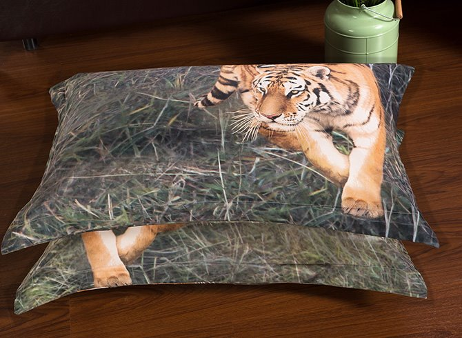 3D Wandering Tiger Printed Polyester 5-Piece Comforter Sets