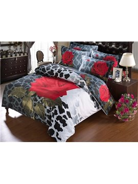 Magnificent Brilliant Rose Cow Grain 5-Piece Comforter Sets