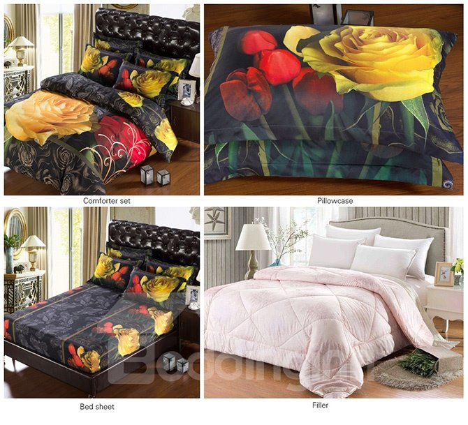 Graceful Floral Print 5-Piece Black Comforter Sets