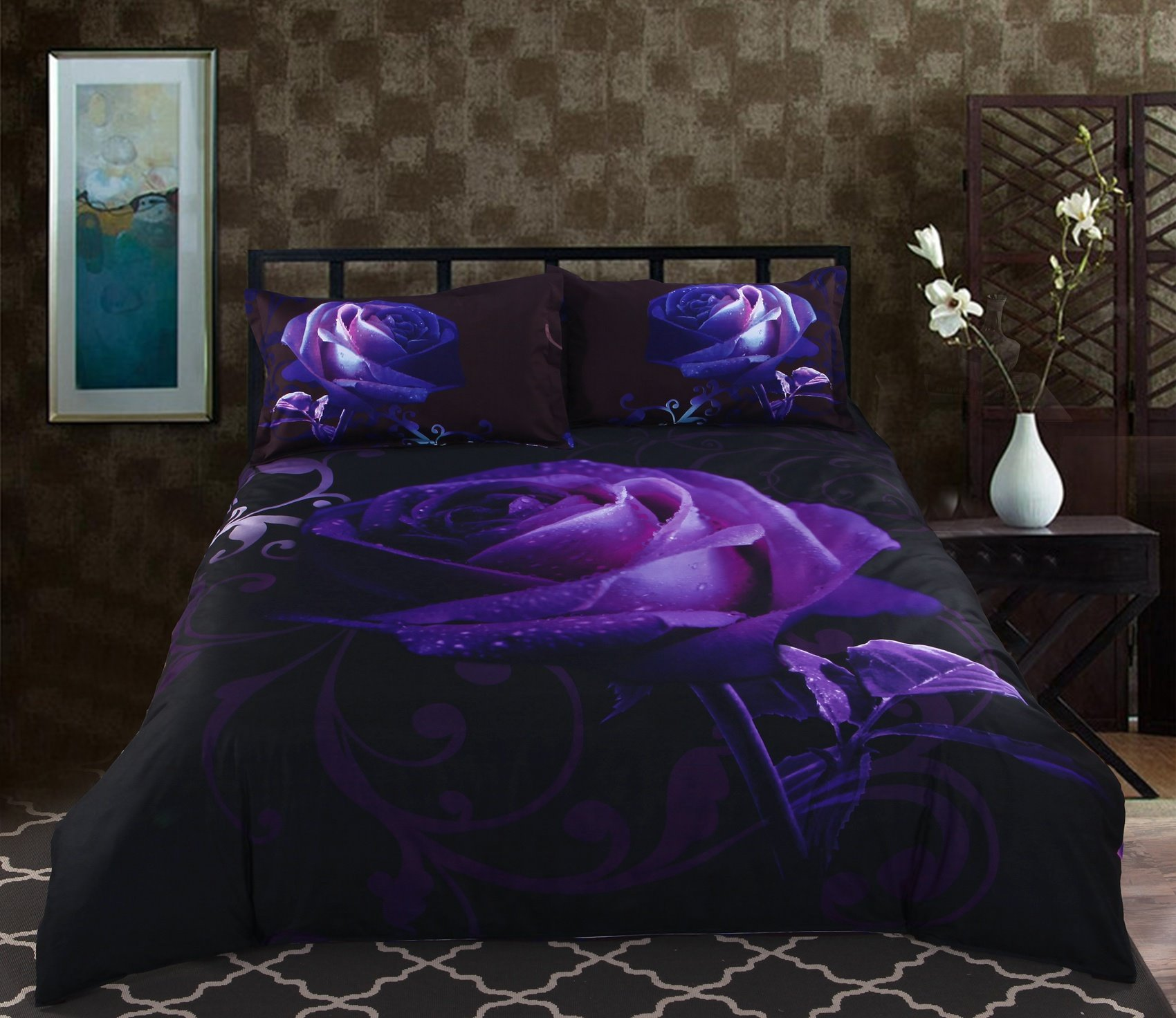 3d Purple Rose Printed Polyester 5 Piece Comforter Sets Pic
