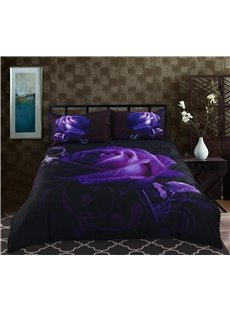 Mysterious Noble Purple Rose 5-Piece Black Comforter Sets