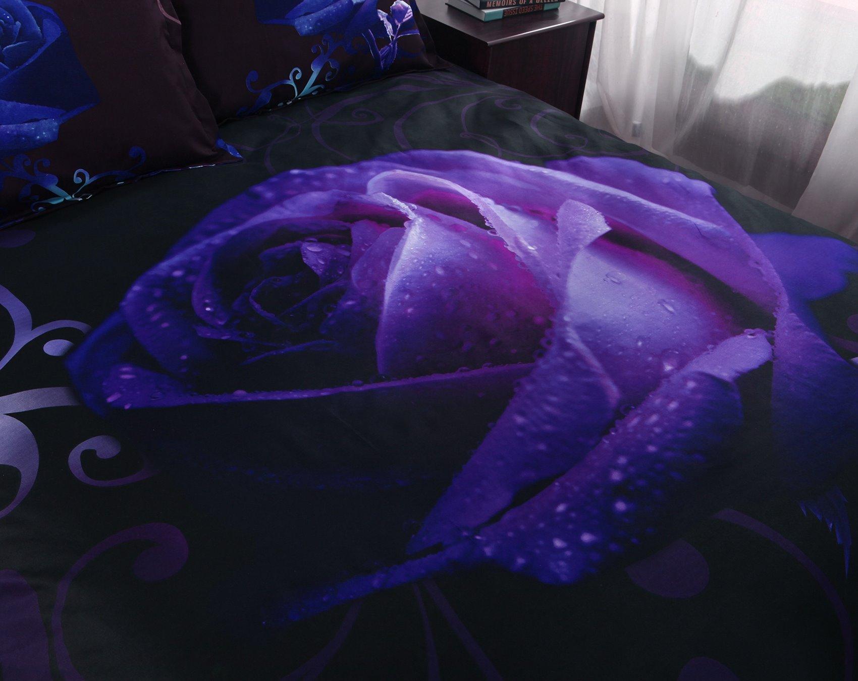Mysterious Noble Purple Rose 5-Piece Black Comforter Sets