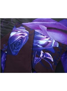 3D_Purple_Rose_Printed_Polyester_5Piece_Comforter_Sets