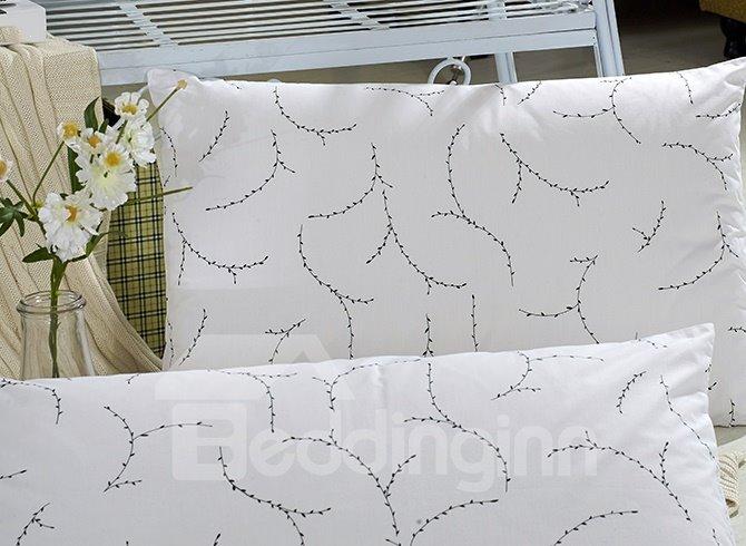 Noble Concise Style 4-Piece White Cotton Duvet Cover Sets