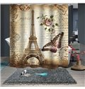 3D Eiffel Tower and Butterfly Printed Polyester Bathroom Shower Curtain