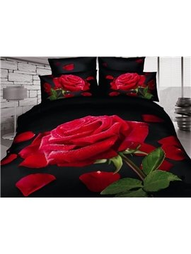 Top Selling Romantic Rose Print 100% Cotton 3D Duvet Cover