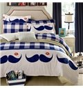 Elegant Blue and White Checkered Bedding Sets