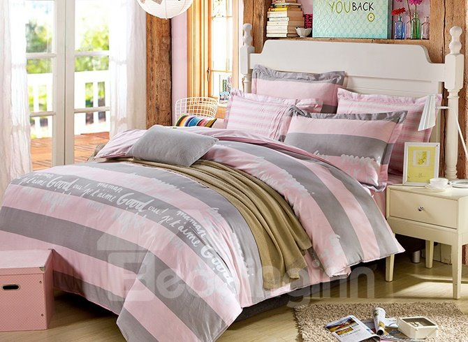 100% Cotton Distict English Words and Strip Print  4-Piece Bedding Sets