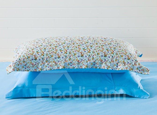 Unique Tiny Flower Pattern with Blue Background 4-Piece Cotton Duvet Cover Sets