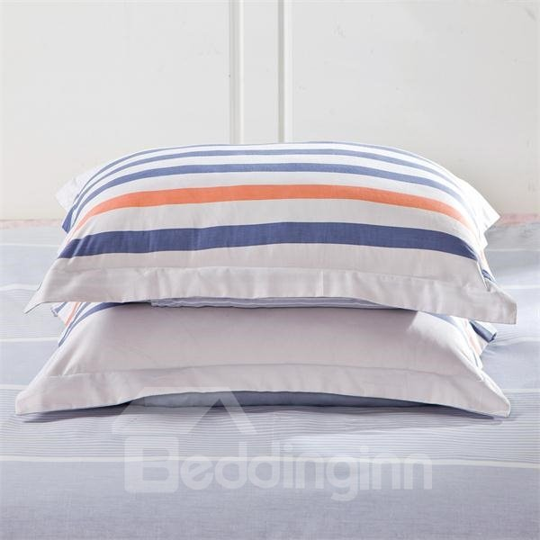 Graceful Blue and White stripe Pattern 4-Piece Bedding Sets