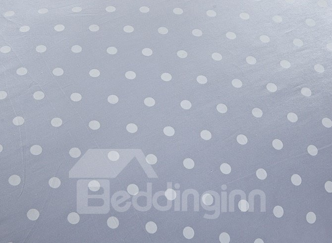 Little Pure White Polka Dot with Grey Background 4-Piece Bedding Sets