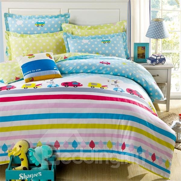 Lovely Car Printed 4-Piece Cotton Bedding Sets