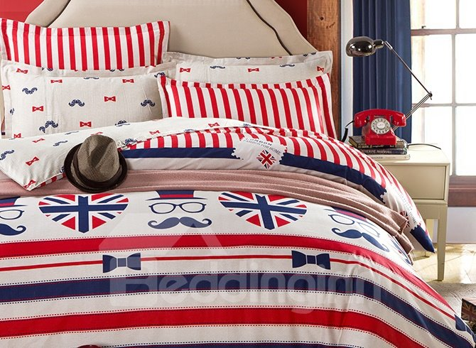 Distinctive Flavor of London Pattern and Stripe Print 4-Piece Bedding Sets