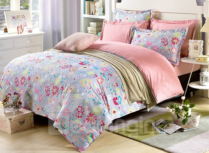Bright Flowers and Lovely Birds Print 4-Piece Bedding Sets with Soft Touch