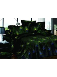 Graceful Noble Peacock Feathers Print Black One Pair Pillowcases