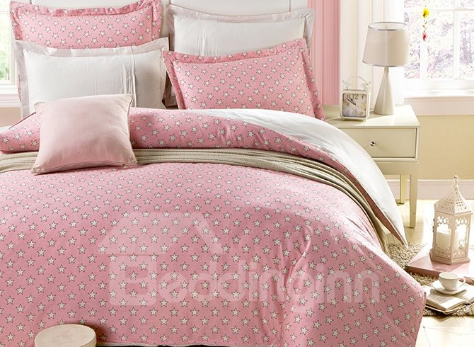 Sweet Stars in Pink Sky 100-Percent Cotton 4 Pieces Bedding Sets