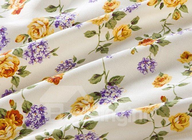 Unique Tiny Flower Pattern with Purple Background 4-Piece Cotton Duvet Cover Sets