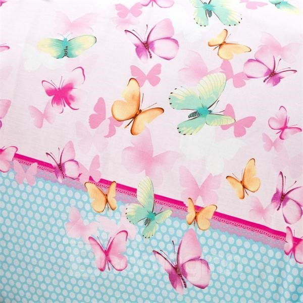 Colorful Butterfly Print 4-Piece Cotton Bedding Sets