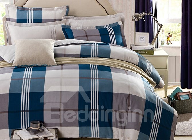 Plain Blue and Gray Checker Print 4-Piece Bedding Sets