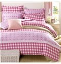 Pink Checkered Squares with Stars Pattern 4-Piece Bedding Sets