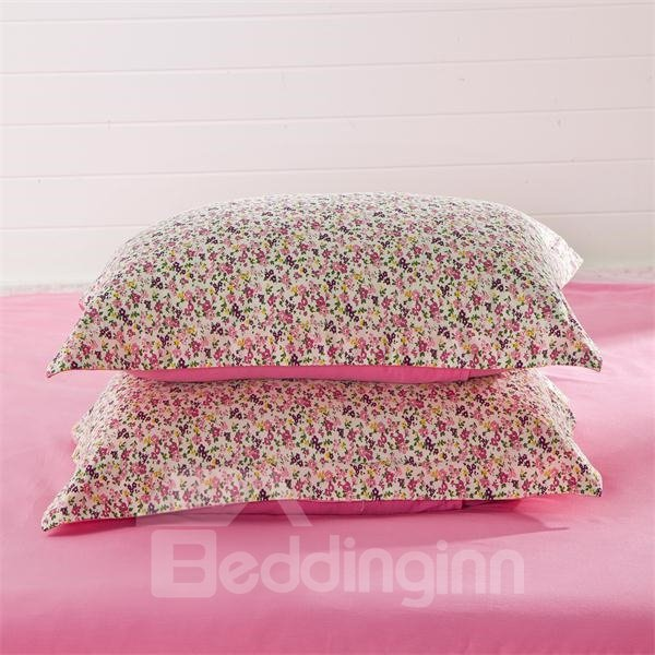 Lovely Rose Red Ground with Blooming Flowers Print 4-Piece Bedding Sets