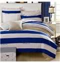 Navy and White Stripe Pattern 4-Piece Bedding Sets